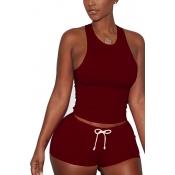 Red Cotton Blend Shorts Solid U cuello sin mangas Casual dos piezas