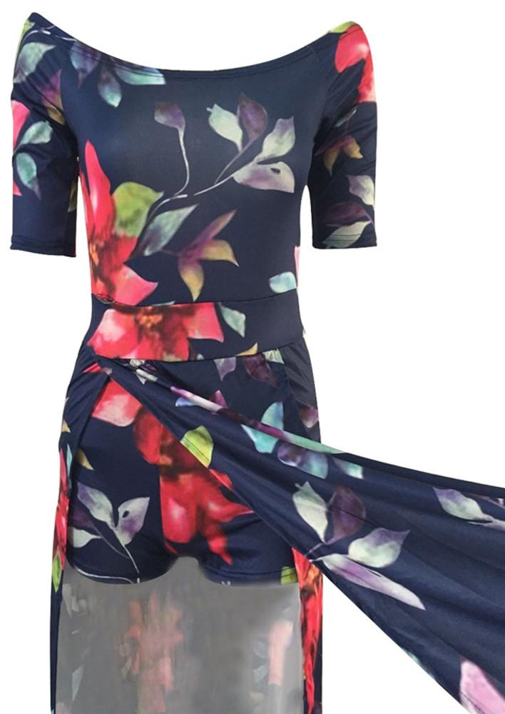 Elegante medio mangas de impresión floral Qmilch vestido de longitud del piso