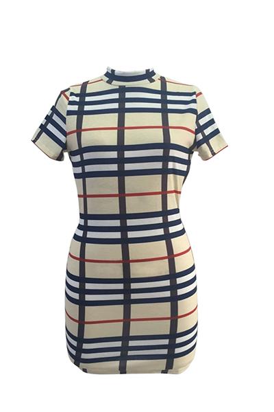 сексуальный мандарин воротник короткий рукав пледы Backless qmilch оболочка мини-платье