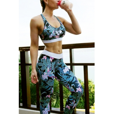 Multi Blending Pants Print O neck Sleeveless Sexy Two Pieces