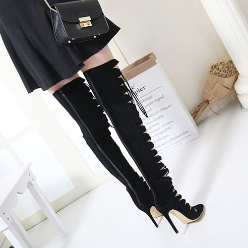 Spring Autumn Suede Pointed Toe Stiletto Super High Zipper Over the Knee Fashion Boots