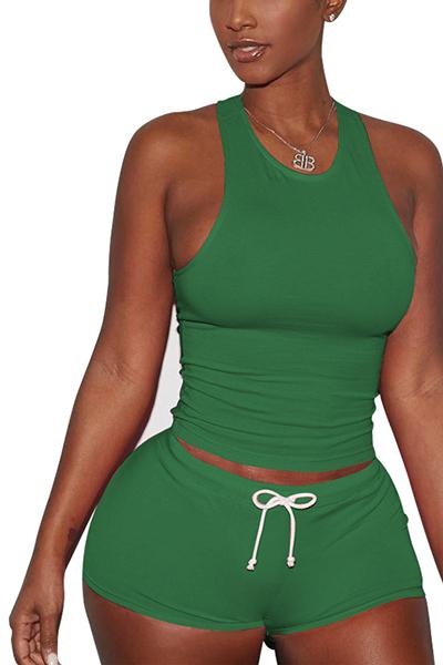 Green Cotton Blend Shorts Solid U cuello sin mangas Casual dos piezas
