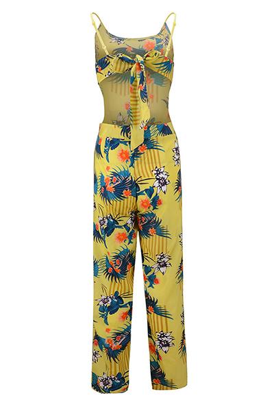 Chiffon Print Loose Jumpsuits