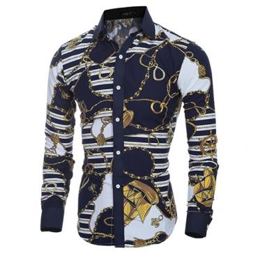 Cardigan Cotton Turndown Collar Long Sleeve Print Men Clothes