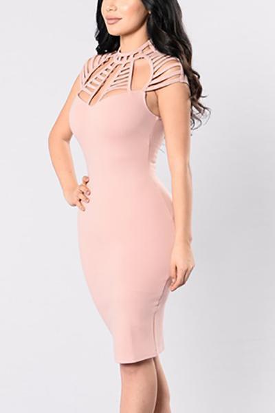 Polyester Sexy O neck Sleeveless Sheath Knee Length Dresses