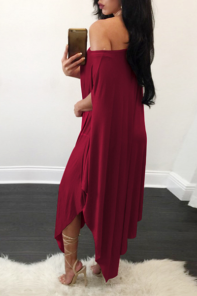 Qmilch Sexy One Shoulder Short Sleeve Mid Calf Dresses