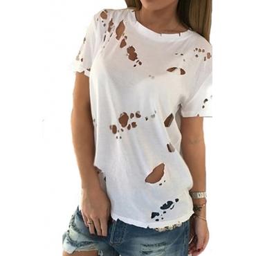 Пуловеры Полиэстер O Шея Короткая рубашка Твердые футболки