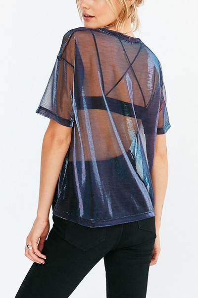 Pullovers Nylon O Neck Short Sleeve Solid T-shirt