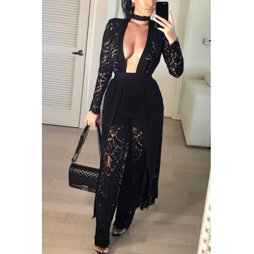 Black Lace Pants Solid V Neck Long Sleeve Sexy Two Pieces