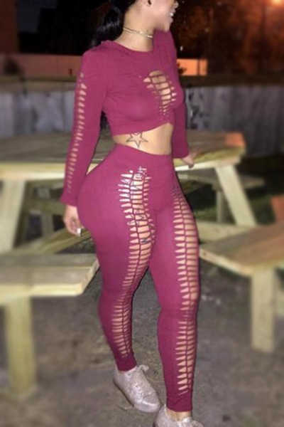 Red Qmilch Pants Solid O neck Long Sleeve Sexy Two Pieces<br>