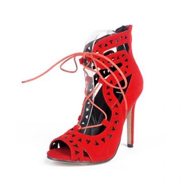 Модные очки Peep Toe Lace-up Hollow-out Stiletto Супервысокие каблуки из красного замши