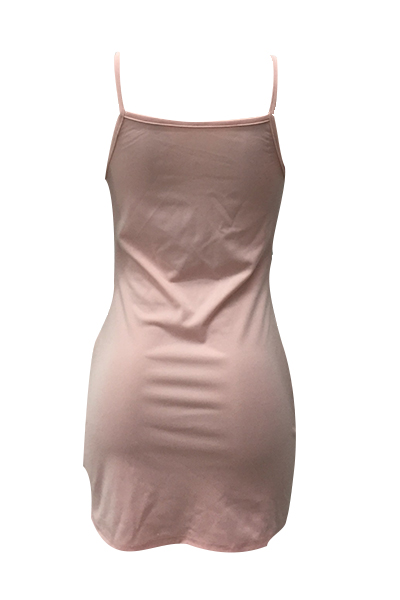 Сексуальные ремешки из спагетти с прозрачным розовым мини-платьем из полиэстера (без брифов)