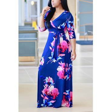Fashion V Neck Three Quarter Sleeves Floral Print Purplish Blue Healthy Fabric Floor Length Dress