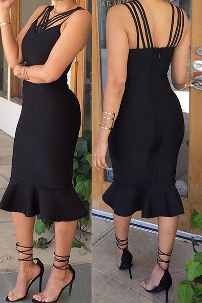 Sexy V Neck mangas Falbala design preto sã tecido sereia meio vestido de bezerro