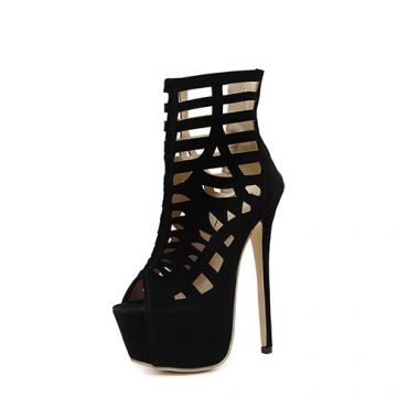 Стильные кружевные туфли на высоком каблуке Stiletto на высоком каблуке полые черные замшевые сандалии из гладиатора