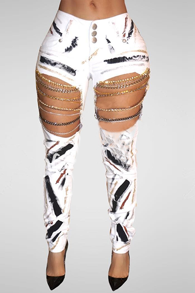 denim Print Button Fly Mid Regular Pants Jeans