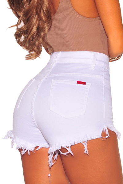 Cotton Solid Button Fly High Regular Shorts