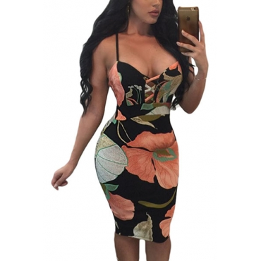 Polyester Sexy V Neck Sleeveless Sheath Mini Dresses(Non Positioning Printing)