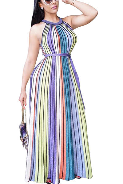 Charming Round Neck Sleeveless Striped Printed Qmilch Ankle Length Dress