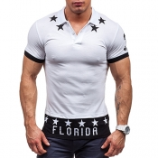 Pullovers Modal V Neck Short Sleeve Print Men Clothes