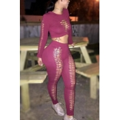 Red Qmilch Pants Solid O neck Long Sleeve Sexy Two Pieces