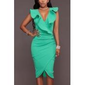 Cotton Sexy V Neck Sleeveless Knee Length Dresses