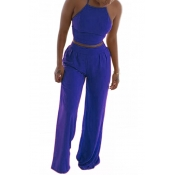 Blue Venetian Pants Solid O neck Sleeveless Fashion Two Pieces