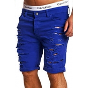 Stylish Mid Waist Broken Holes Royalblue Cotton Blends Shorts