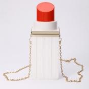 Stylish Lipstick Design White PU Clutches Bags