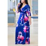 Moda V Neck Três mangas trimestre Floral impressão Purplish azul saudável tecido vestido de comprimento do assoalho
