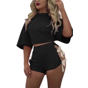 Black Cotton Shorts Solid O neck Short Sleeve Sexy Two Pieces