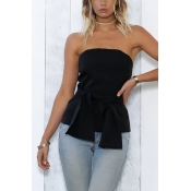 Charming Bateau Neck Sleeveless Bandage Tie Black Polyester Shirts(Without Accessories)