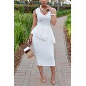 Trendy V Neck Sleeveless Falbala Design White Heal
