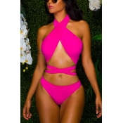 Sexy Hollow-out Rose Red Polyester One-piece Swimwear