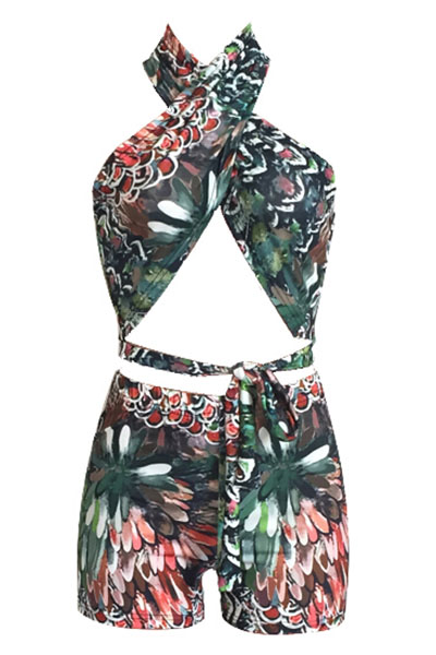 LovelyMulti Polyester Shorts Print V Neck Sleeveless Sexy Two Pieces