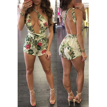 Sexy Floral Print Backless Green Qmilch One-piece Jumpsuits