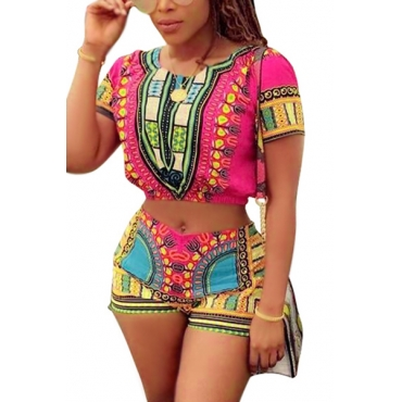 LovelyEthnic Style Round Neck Short Sleeves Printed Qmilch Two-piece Shorts Set