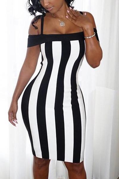 Sexy Bateau cuello sin mangas negro-blanco Patchwork saludable tela vaina rodilla vestido de longitud