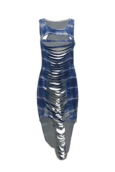 Qmilch Sexy O neck Tank Sheath Ankle Length Dresses