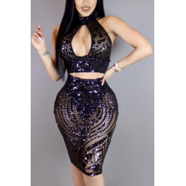 Black Sequined Skirt Solid V Neck Sleeveless Sexy Two Pieces