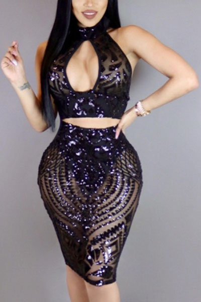 Black Sequined Skirt Solid V Neck Sleeveless Sexy Two Pieces<br>