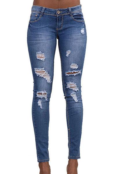 denim Solid Zipper Fly Mid Regular Pants Jeans