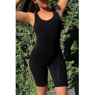 Leisure U-shaped Neck Sleeveless Black Modal One-piece Skinny Jumpsuits
