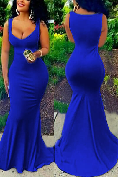 Sexy U-shaped Neck Sleeveless Blue Cotton Blend Sheath Floor Length Dress Dresses <br><br>