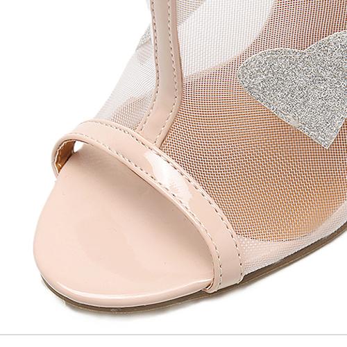 Moda punteada Peep Toe ver-A través de Chunky Super High Heel Albaricoque Net Yarn Sandalias
