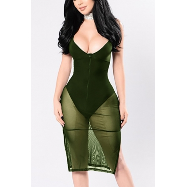 Sexy V Neck Sleeveless See-Through Green Cotton Blend Sheath Knee Length Dress