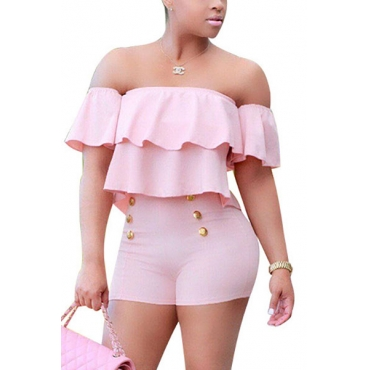 Charming Boat Neck Short Sleeves Falbala Design Pink Healthy Fabric One-piece Skinny Jumpsuits