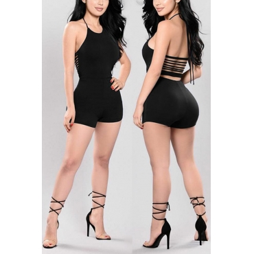 Euramerican Sexy Round Neck Sleeveless Backless Black Qmilch One-piece Skinny Jumpsuits