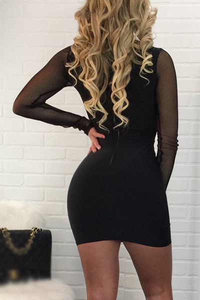 Sexy V Neck Long Sleeves Yarn Patchwork Black Sheath Mini Dress