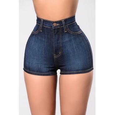 Elegante alta cintura azul marinho algodão shorts